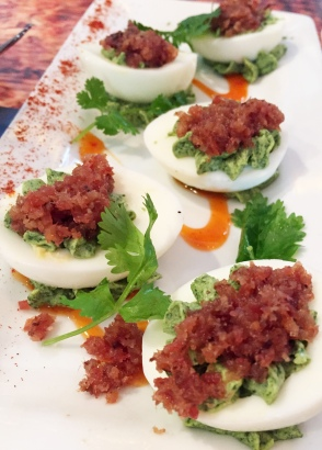 Eggs Diablo, Cork Soaker's delicious deviled eggs, change up the recipe but never the satisfaction.