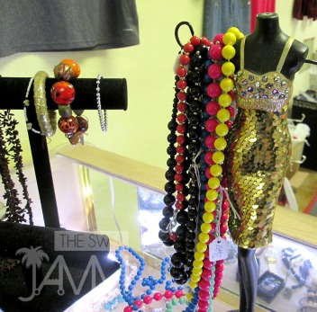 So many cute pieces of jewelry and accessories dot the sales counter.